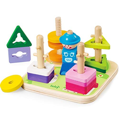 xIANGEN Wooden Toys Building Blocks Stacking Interactive Matching Benefit Intellectual Boys and Girls 2-3-4 Years Old Shape