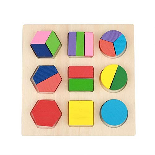 MAVIS LAVEN Wooden Puzzles Toy Kids Educational Set Push Geometric Block Building Puzzle Baby Early Learning Tool 3