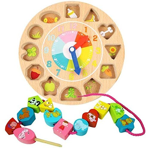 Aoyo Brain Game Wooden Threading Clock Toy Geometric Building Blocks Matching Toy- Colorful