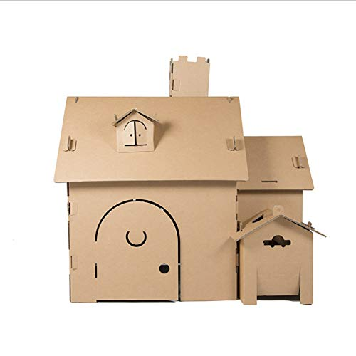 GEEFSU-Paper House Game Kids Cardboard Playhouse Children DIY Coloring Role Playing Foldable Indoor Toys Painting Paper Birthday Gifts