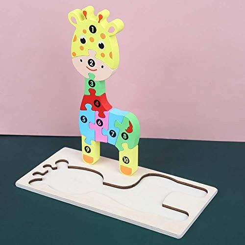 N A Gift for Kids Men Wooden Building Block Learning Early Education Toy Puzzle Game Giraffe