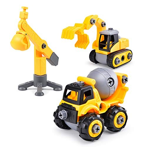 Take Apart Construction Truck Toy Friction Powered Vehicle 2-in-1 Building Set Fun Educational Build Car Playset for Kids Engineering Toys Toddler 3 Assembly Tools Kit