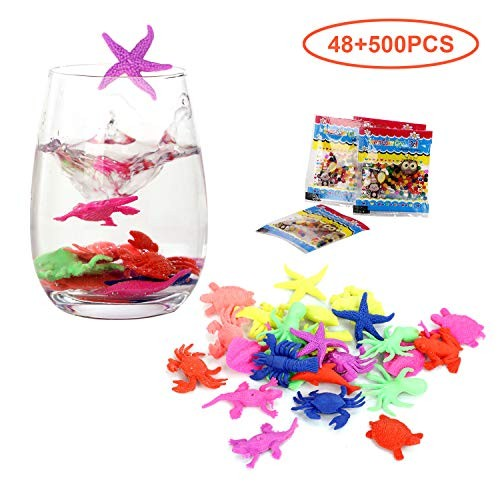Biubee Water Growing Sea Animals and Beads Set- 48 Pcs Life Creatures with 500 Absorbing Amazing Expandable Oceanic for Party Favor Supplies Ideal Gifts