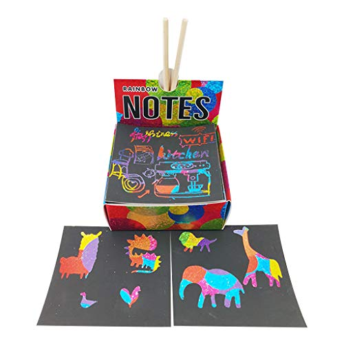 Drfoytg 2020 Magic Rainbow Scratch Paper DIY Drawing Board Kids Craft Art Kit Toys Coloring Pages Books for Children Painting Doodle