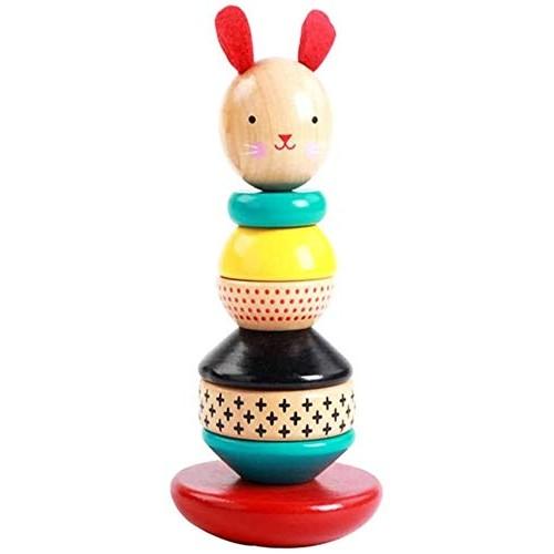 Wooden Blocks Set Rainbow Tower Tumbler Stack Building Rabbit Geometric Shape Column Sorting Matching Kids Toys