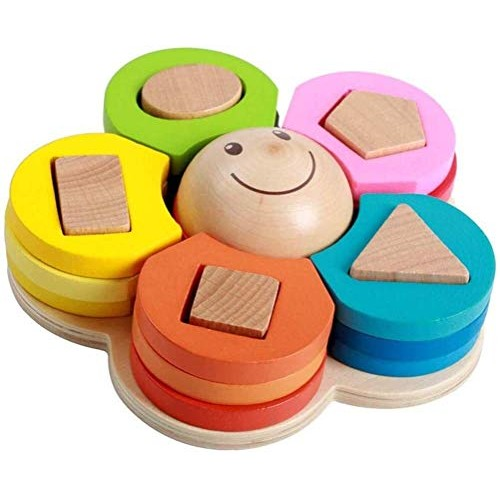 Aoyo Wood Children Flower Shape Geometry Matching Puzzle Wooden Building Blocks Early Education Toy- Colorful