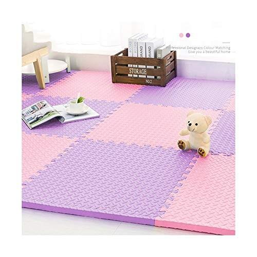 Foam Play Mat Tiles Interlocking Floor Mats for Children Multicoloured Puzzled Soft Kids Area Color Pink Purple Size 24 pcs