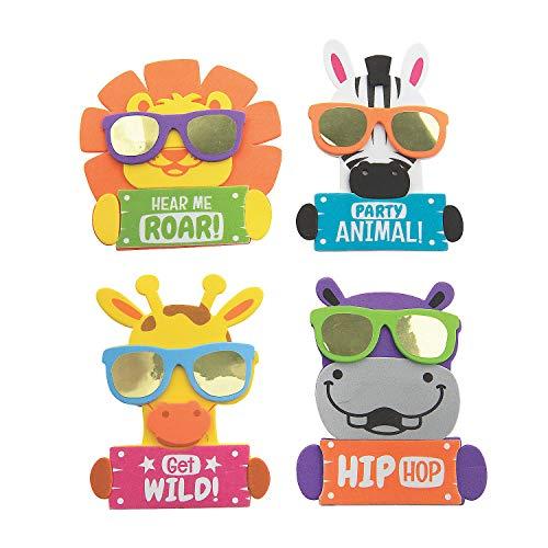 Fun Express Cool Safari Animal Magnet Craft Kit – Kits 12 Pieces