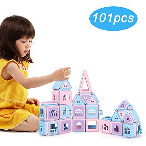 Magnetic Blocks 101Pcs 3D Building Tiles Macaron Color Set Educational Creative Construction Toys with Storage Bag for 3 Years Old and Up Kids Children Toddlers