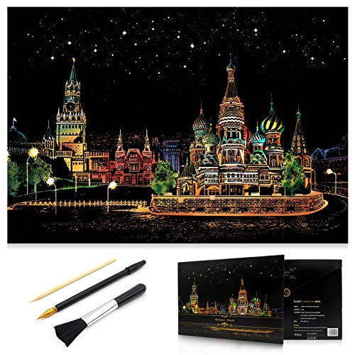 MIASTAR Scratch Painting Kits for Adults & Kids Craft Art Set Rainbow Paper Sketch Pad DIY Night View Scratchboard 16'' x 112'' Creative Gift – with 3 Tools Red Square