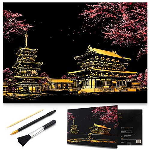 MIASTAR Scratch Painting Kits for Adults & Kids Craft Art Set Rainbow Paper Sketch Pad DIY Night View Scratchboard 16'' x 112'' Creative Gift – with 3 Tools Sakura