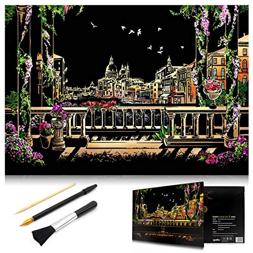 MIASTAR Scratch Painting Kits for Adults & Kids Craft Art Set Rainbow Paper Sketch Pad DIY Night View Scratchboard 16'' x 112'' Creative Gift – with 3 Tools Venice