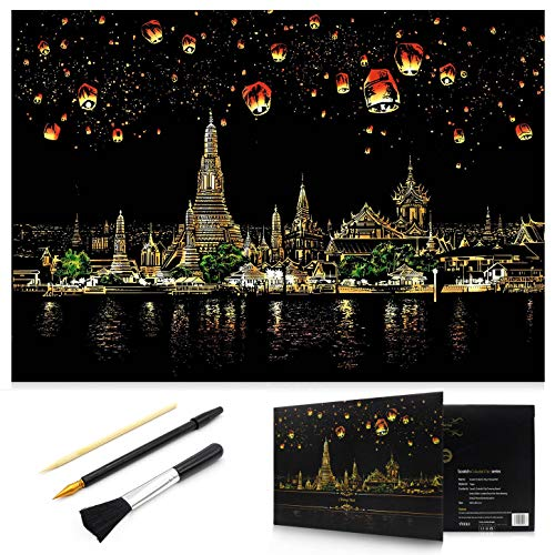 MIASTAR Scratch Painting Kits for Adults & Kids Craft Art Set Rainbow Paper Sketch Pad DIY Night View Scratchboard 16'' x 112'' Creative Gift – with 3 Tools Chiang Mai
