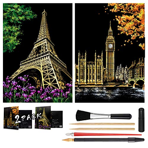 Scratch Painting Kits for Adults & Kids Craft Art Set Rainbow Paper Sketch DIY Night View Scratchboard 16'' x 112'' Creative Gift with 6 Tools kit Eiffel Tower Big Ben