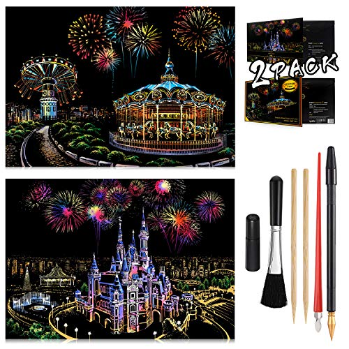 Scratch Painting Kits for Adults & Kids Craft Art Set Rainbow Paper Sketch DIY Night View Scratchboard 16'' x 112'' Creative Gift with 6 Tools kit Castle Amusement Park