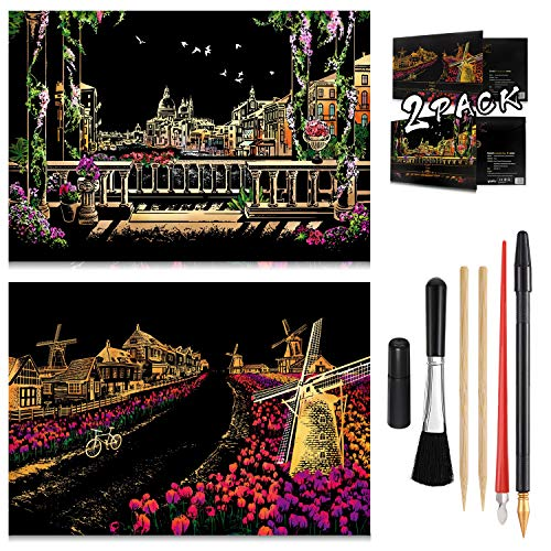 Scratch Painting Kits for Adults & Kids Craft Art Set Rainbow Paper Sketch Night View Scratchboard 16'' x 112'' Creative Gift with 6 Tools kit Netherlandish windmills Venice