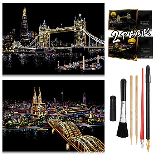 Scratch Painting Kits for Adults & Kids Craft Art Set Rainbow Paper Sketch Pad DIY Night View Scratchboard 16'' x 112'' with 6 Tools kit Cologne Cathedral Tower Bridge