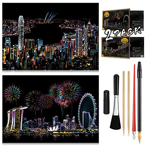 Scratch Painting Kits for Adults & Kids Craft Art Set Rainbow Paper Sketch DIY Night View Scratchboard 16'' x 112'' Creative Gift with 6 Tools Singapore Victoria Harbour