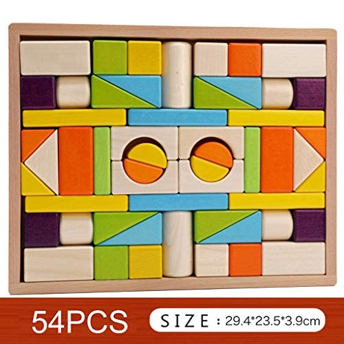 YONGMEI Colorful Wooden Building Blocks SetChildrens Construction Wood Toy for Kids 3-6 Year Old Boy or Girl – Educational Toys Size B