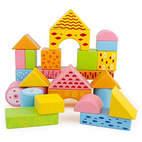 YONGMEI 30 Piece Wooden Building Blocks SetChildrens Construction Wood Toy for Kids 1-5 Year Old Boy or Girl – Educational Color Multi-Colored