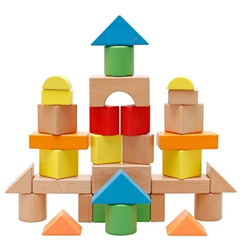 YONGMEI 32 Piece Wooden Building Blocks SetChildrens Construction Wood Toy for Kids 2-5 Year Old Boy or Girl – Developmental Color Multi-Colored