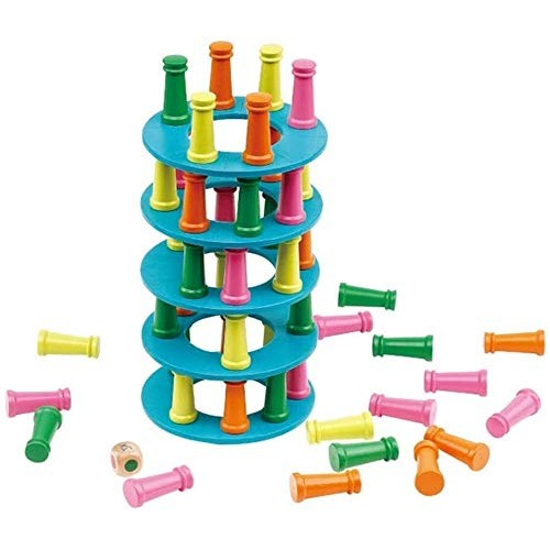 Wood 2 in 1 Wooden Stacking Game Tower Building Blocks Toy and Flying Chess Family for Kids Adults- Colorful