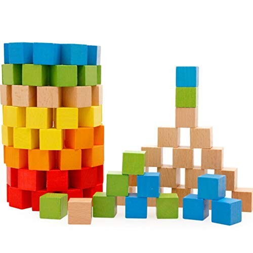 YONGMEI 100 Piece Wooden Building Blocks SetChildrens Construction Wood Toy for Kids 2-5 Year Old Boy or Girl – Developmental Color Multi-Colored
