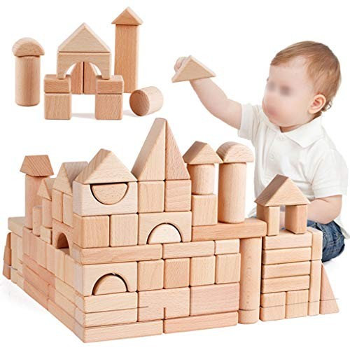 YONGMEI 80 Piece Wooden Building Blocks SetChildrens Construction Wood Toy for Kids 3-6 Year Old Boy or Girl – Developmental Color Natural