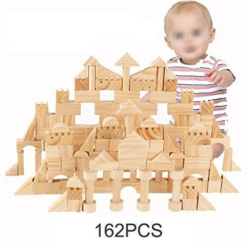 162 Piece Wooden Building Blocks SetChildrens Construction Wood Toy for 3-6 Year Old Boy Or Girl – Educational Toys Color Natural