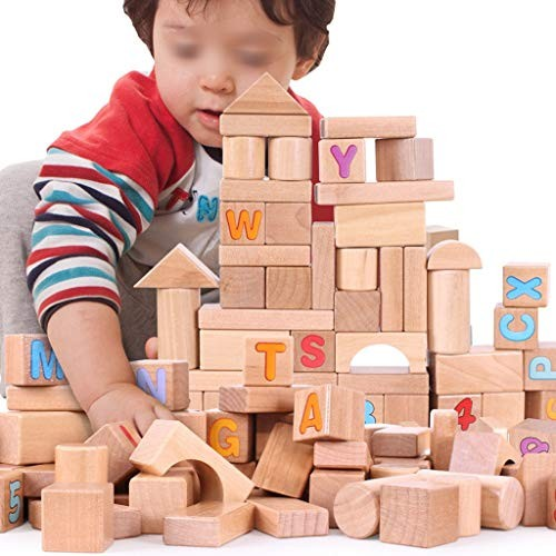 70 Piece Wooden Building Blocks SetChildrens Construction Wood Toy for 3-6 Year Old Boy Or Girl – Educational Toys Color Natural