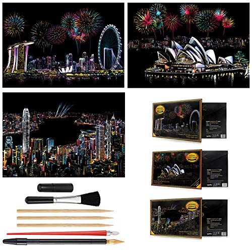 -Sydney DIY Scratch Art Paper for Gift with Pen Scratch Night View