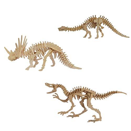 Kapmore 3D Wooden Puzzle DIY Craft Kits 3 Sets Wood Kit Dinosaur Trick Toy