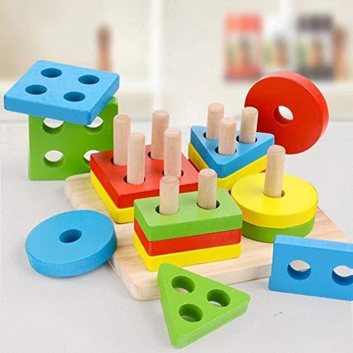 Fanthee Kids Educational ToyWooden Building Block Geometric Shape Matching Board Baby Toy