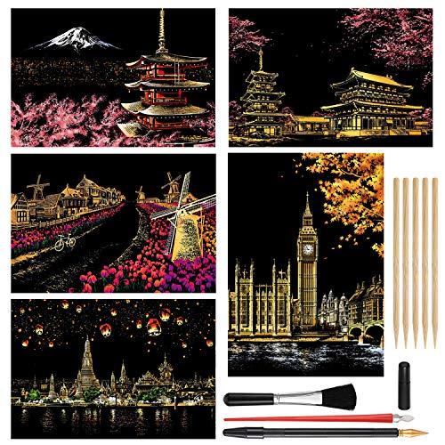 Scratch Painting Kits Craft Art Set for Adults & Kids Rainbow Paper Sketch DIY Scratchboard 16''x112'' – with 9 Tools Mount Fuji Sakura Dutch Windmill Big Ben Chiang Mai