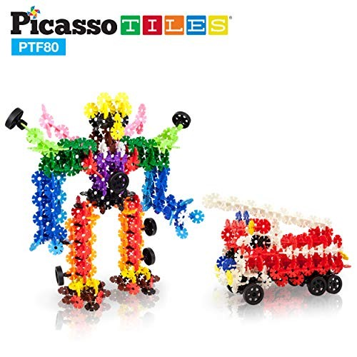 PicassoTiles Building Flakes 800 Pieces Interlocking Construction Blocks with 10 Wheels Creative Disc STEM Block Toy Set Learning Toys for Early Child Brain Development Kids Age 3 and Up