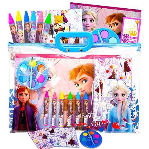 Disney Frozen 2 Coloring Book and Activity Super Set for Kids Toddlers ~ Painting with Paint Brush Stickers Tote Bag Frozen Party Supplies Bundle