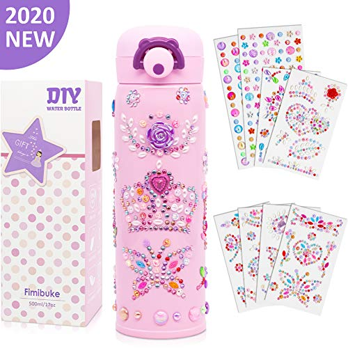 Fimibuke Kids Water Bottle – Personalize & Decorate Your Own with Tons of Rhinestone Gem StickersDIY Art Craft Toy Kit Gift for Girls 17 oz Vacuum Insulated Stainless Steel Travel Mug