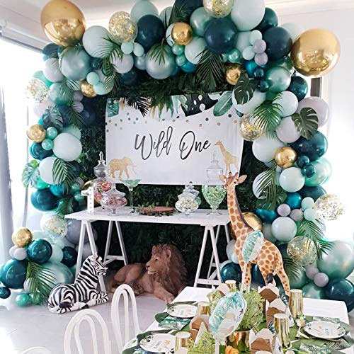 Jungle Safari Theme Baby Shower Decorations Boy – Balloon Garland Arch Kit Tropical Leaves Decoration Colorful Balloons Strip Green Animal Birthday Party 167pcs