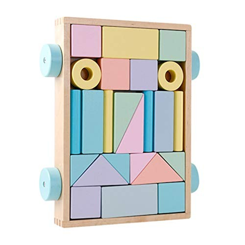 24pcs Wooden Building Blocks Construction Toys Various Shapes Stacking Early Educational Block for Toddlers