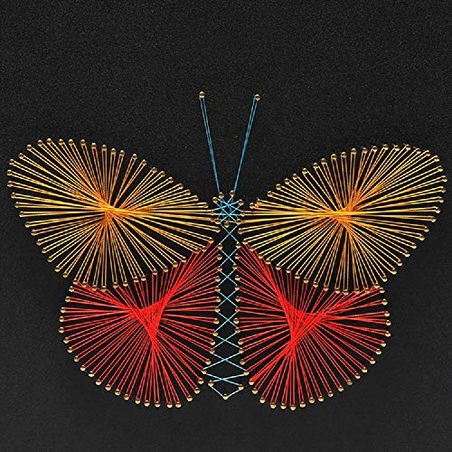 UTEC LIMITED String Art Handmade Crafts Decoration Kits for Beginner Kids Adult Home Wall Decor – Animal Colorful Butterfly 118 x 118inch Without Framework