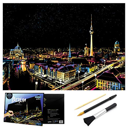 Scratch & Sketch Art Paper 16 x 112 for Kids Adults Rainbow Painting Night View Scratchboard Gift Off Craft Kits Cards Drawing Pen stick Clean Brush Berlin