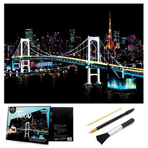 Scratch & Sketch Art Paper 16 x 112 for Kids Adults Rainbow Painting Night View Scratchboard Gift Off Craft Kits Cards Drawing Pen stick Clean Brush Tokyo