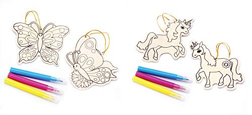 J&J'S TOYSCAPE DIY Unfinished Wooden Ornament Kits Pack of 2 Styles Unicorn & Butterfly – Makes 4 Ornaments Total with Markers 6 Pcs Kid's Art Craft Prepare Paint it Yourself Toys