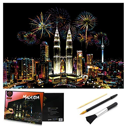Scratch & Sketch Art Paper 16 x 112 for Kids Adults Rainbow Painting Night View Scratchboard Gift Off Craft Kits Cards Drawing Pen stick Clean Brush Malaysia