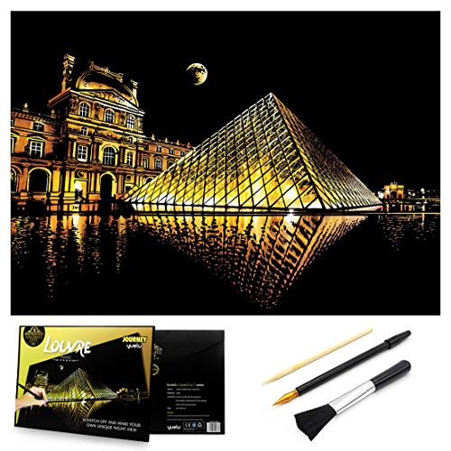 Scratch & Sketch Art Paper 16 x 112 for Kids Adults Rainbow Painting Night View Scratchboard Gift Off Craft Kits Cards Drawing Pen stick Clean Brush Louvre
