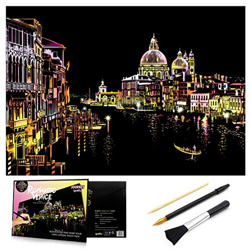 Scratch & Sketch Art Paper 16 x 112 for Kids Adults Rainbow Painting Night View Scratchboard Gift Off Craft Kits Cards Drawing Pen stick Clean Brush Venice