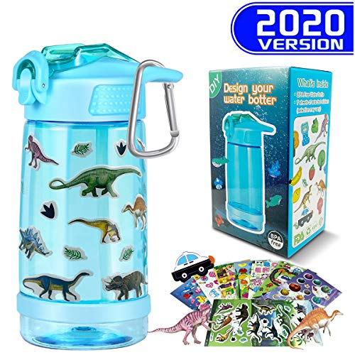 CHERRYLIFE Decorate & Personalize Your Own Water Bottle with Tons of Gem StickersFun DIY Art and Craft Kit for ChildrenReusable BPA Free 17 oz Kids Bottles Boys Blue
