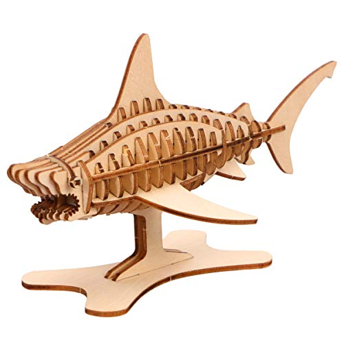 Exceart 3D Wooden Shark Model Assembly Puzzle Wood Craft Kit to Build – DIY Educational Simulation Building ToysGifts for Kids and Adults Tabletop Ornament Decor