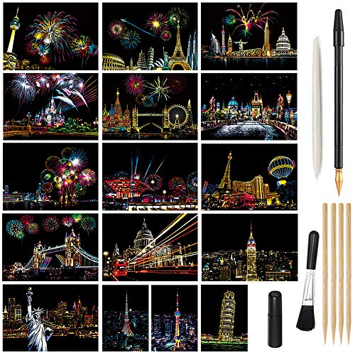Magic Scratch Art Paper Mini Envelope Postcard Rainbow Night View Scratchboard for Adults and Kids & Crafts Set 16 Sheets Cards 8 Tools Drawing Pen Brush Travel Around The World
