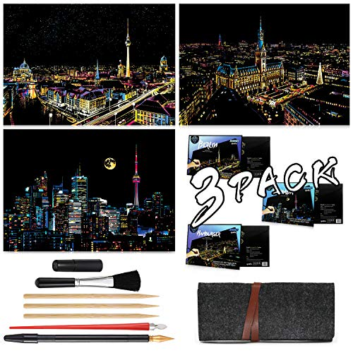 Scratch & Sketch Art 16x 112 for Kids Adults Rainbow Painting Night View Scratchboard Gift Craft Kits 3 Pack with 7 Tools Clean Brush Drawing Pen Bag Berlin Hamburg Canada